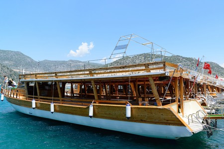 punt: Kemer, Turkey - 06.20.2015. Pleasure boats for a tourists near the pier Editorial