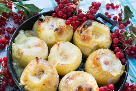 appetizing: Appetizing baked apples with  a fresh Kalina