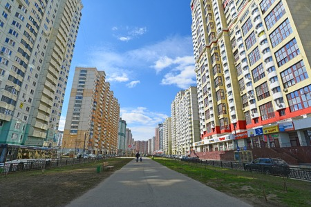residential building: KRASNOGORSK, RUSSIA - APRIL 22,2015: Krasnogorsk is city and center of Krasnogorsky District in a Moscow Oblast located on Moskva River. Area of residential development is about 2 million square feet Editorial