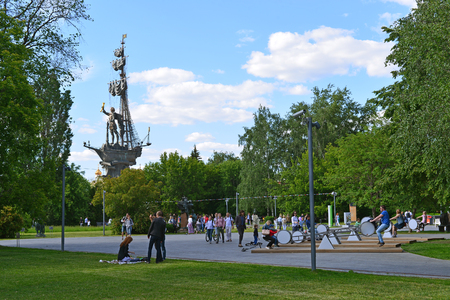 located: MOSCOW, RUSSIA -12.06.2015. People rest in the park Art Muzeon. The park is located on an area of 23.46 hectares