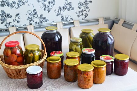jams: a Home canned vegetables in the room
