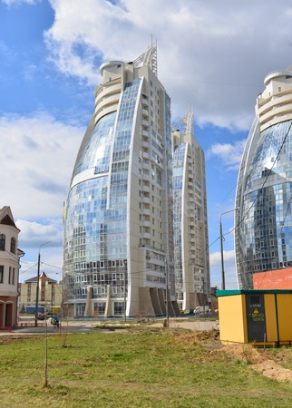lowrise: KRASNOGORSK, RUSSIA - APRIL 22,2015: The new construction districts in the suburbs. Area of residential development on about 2 million square feet