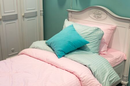 bedstead: Detail of bedrooms for the girls Stock Photo