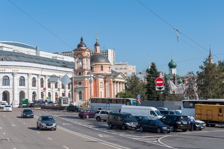 martyr: Moscow, Russia - 09.21.2015. View Gostiny Dvor and the Temple of the Great Martyr Varvara on Vasilyevsky Spusk