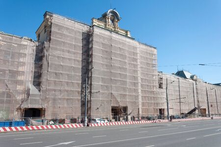reconstruction: MOSCOW, RUSSIA - 21.09.2015. Polytechnical Museum in a scaffolding reconstruction Editorial