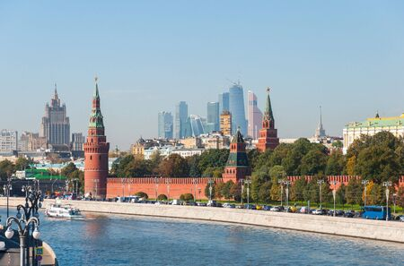 international business center: MOSCOW, RUSSIA - 21.09.2015.  the Moscow Kremlin and the international business center Moscow-City