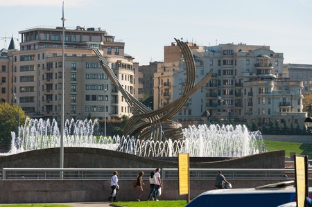 abduction: Moscow, Russia - 09.21.2015.  Abduction of a Europe sculpture near Kievsky Railway Station