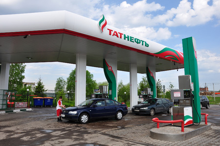 fillup: MOSCOW, RUSSIA - 05.29.2015. Tatneft Gas Station in a Zelenograd