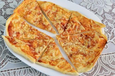 georgian: Khachapuri with cheese - a Georgian national dish Stock Photo