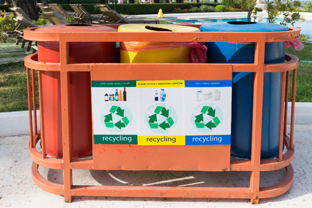 tar paper: Garbage containers for a separate waste collection