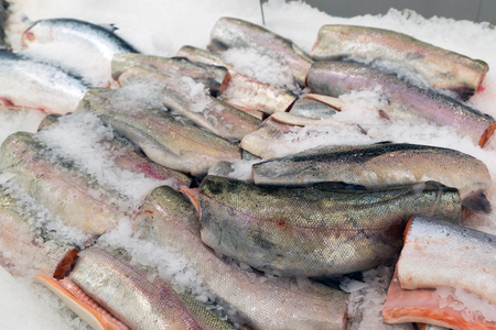 redfish: The big pieces of red fish on ice in the fish market Stock Photo