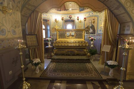 relics: SUZDAL, RUSSIA - 06.11.2015. The relics of a St. Arseny Elassonsky in the Church of the Assumption. Golden ring