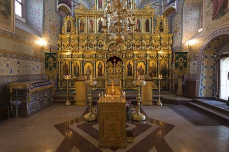 iconostasis: SUZDAL, RUSSIA - 06.11.2015. The iconostasis in the Church of the Assumption. Golden ring Editorial