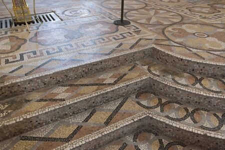 mosaic floor: The mosaic floor of the Transfiguration Cathedral built in the 16th century in Suzdal. A Golden Ring Travel Russia