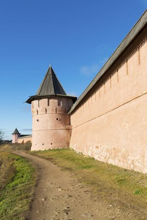 founded: Wall of Saviour and St. Euthymius monastery in Suzdal, founded in 1350. Golden Ring of  a Russia Travel