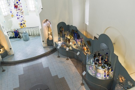 believers: VLADIMIR, RUSSIA -07,11,2015. Museum of crystal and varnished miniature temple is located in the Old Believers Temple Trinity