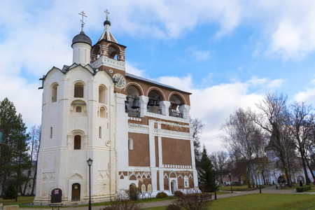 saviour: Suzdal, Russia -06.11.2015. Belfry Saviour Euthymius monastery was built in the 16th century, the Golden Ring of Travel