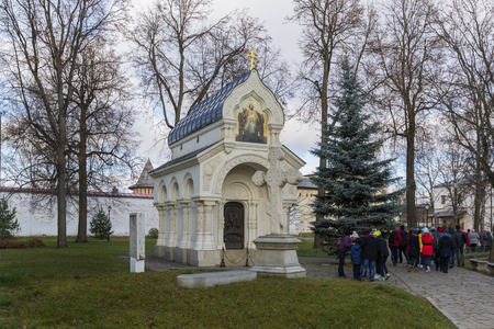 tabernacle: Suzdal, Russia -06.11.2015.  tomb of Prince Pozharsky in Spaso Efimievskom monastery, built in 1885. Golden Ring of Russia Travel