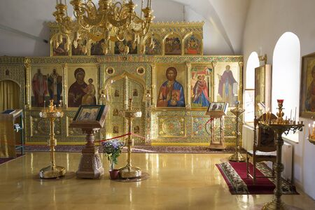 iconostasis: Suzdal, Russia -06.11.2015. Suzdal, Russia -06.11.2015. The iconostasis in a Zachatievsky Church at  Golden Ring Travel