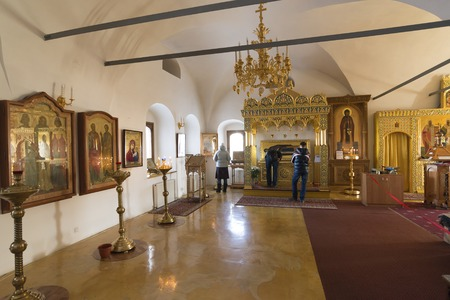 sanctity: Suzdal, Russia -06.11.2015. The relics of St. Sophia of Suzdal -  wife Ivan Grozny - in Zachatievsky Church. Golden Ring Travel