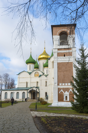 tabernacle: Suzdal, Russia -06.11.2015. Transfiguration Cathedral and belfry in St. Euthymius monastery in Suzdal. Golden Ring of Russia Travel Editorial