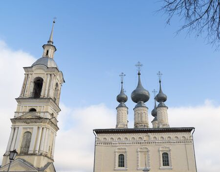 church bells: Smolenskaya church with a bell tower in Suzdal. Golden Ring of Russia Travel Stock Photo