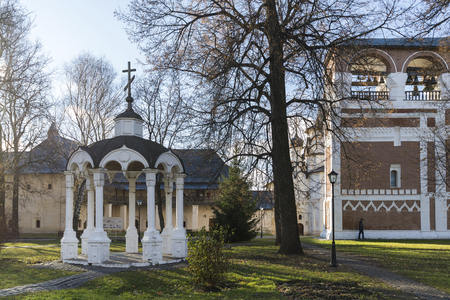 monastic: Suzdal, Russia -06.11.2015. Monastic cells and  Gate Church of the territory a St. Euthymius monastery in Suzdal. Golden Ring of Russia Travel Editorial
