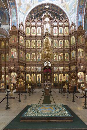 Nizhny Novgorod, Russia - 03.11.2015. The iconostasis in the Cathedral of St. Alexander Nevsky in Nizhny Novgorod, Russia. 19th century