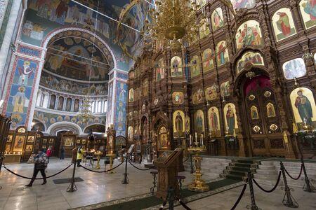 Nizhny Novgorod, Russia - 03.11.2015. The interior of Cathedral of St. Alexander Nevsky in Nizhny Novgorod, Russia. 19th century Editorial