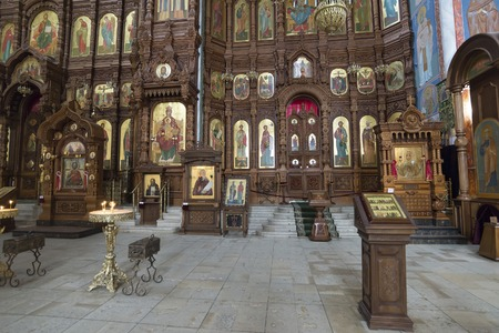 iconostasis: Nizhny Novgorod, Russia - 03.11.2015. The iconostasis in the Cathedral of St. Alexander Nevsky in Nizhny Novgorod, Russia. 19th century