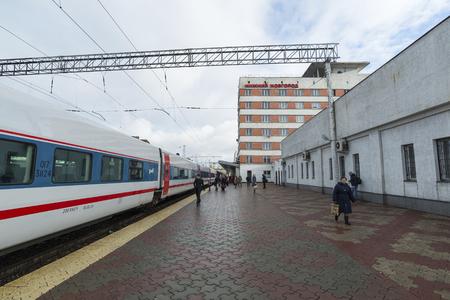 highspeed: NIZHNY NOVGOROD, RUSSIA -05.11.2015. High-speed train Strizh at the railway station