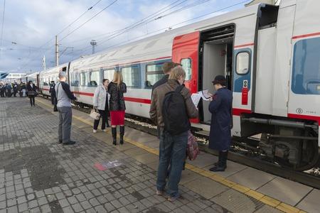 vladimir: VLADIMIR,  RUSSIA -05.11.2015. High-speed train Strizh at the railway station Editorial