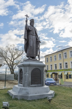 duke: VLADIMIR, RUSSIA -05.11.2015. The monument Duke Vladimir, founder of the city. golden tourist ring