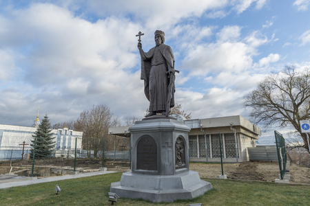 duke: VLADIMIR, RUSSIA -05.11.2015. The monument Duke Vladimir, founder of the city. golden tourist ring
