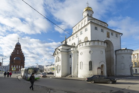 12th century: VLADIMIR, RUSSIA -05.11.2015. The Golden Gate built in the 12th century. Golden Ring Travel.