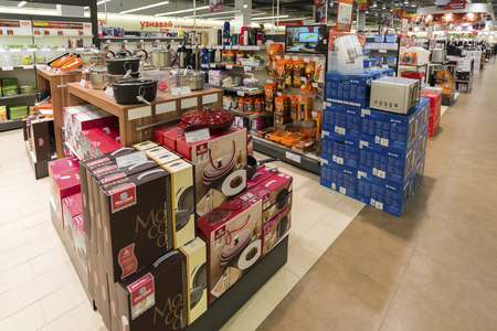 emporium: Khimki, Russia - December 22 2015. Interior Mvideo large chain stores selling electronics and a household appliances
