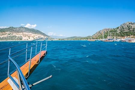 pleasure ship: View of the coast of Turkey to recreational ship