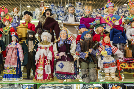 valenki: Moscow, Russia - January 10 2015. The dolls are handmade in the form of characters of Russian fairy tales in the gift shop