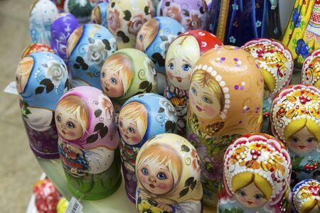 matryoshka doll: Moscow, Russia - January 10 2015. The matryoshka doll - old national toy at gift shop