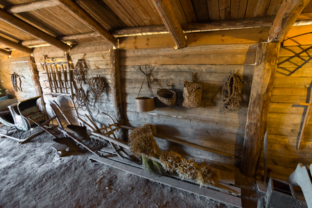 peasant: Suzdal, Russia - November 06, 2015. The interior of peasant houses in the Museum of Wooden Architecture Editorial
