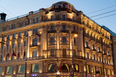 lux: MOSCOW, RUSSIA - January 10.2016. Hotel National in the Mokhovaya street near the Kremlin at night