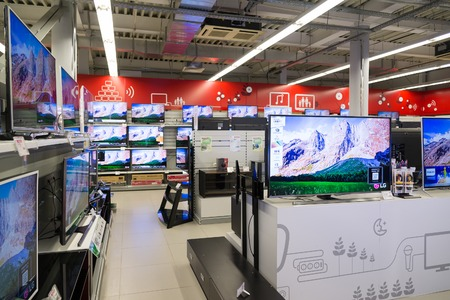 fullhd: Moscow, Russia - February 02. 2015. TV in Eldorado is large chain stores selling electronics and household appliances