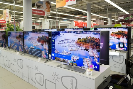 televisor: Moscow, Russia - February 02. 2016. TV in Eldorado is large chain stores selling electronics and household appliances