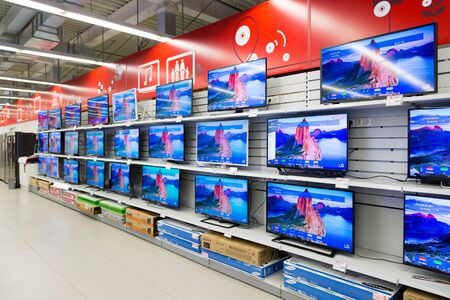 Moscow, Russia - February 02. 2016. TV in Eldorado is large chain stores selling electronics and household appliances