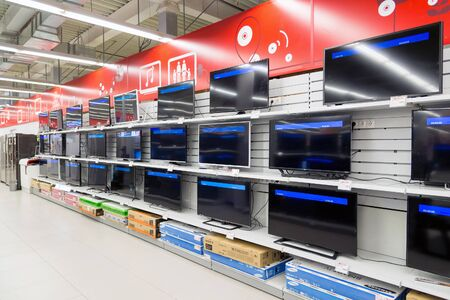 eldorado: Moscow, Russia - February 02. 2016. TV in Eldorado is large chain stores selling electronics and household appliances