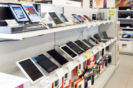 eldorado: Moscow, Russia - February 02. 2016. Tablet PC in Eldorado, large chain stores selling electronics