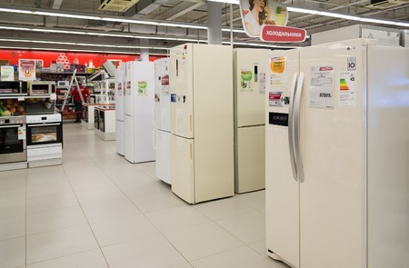 eldorado: Moscow, Russia - February 02. 2016. refrigerators in Eldorado. It is large chain stores selling electronics