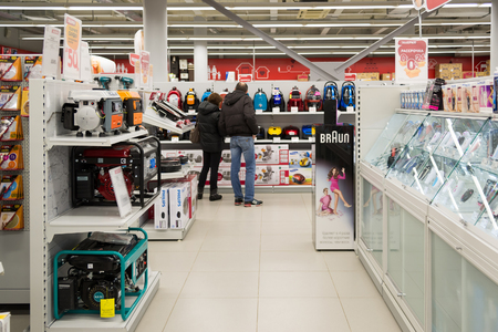 Moscow, Russia - February 02. 2016.Interior of  Eldorado is large chain stores selling electronics and household appliances