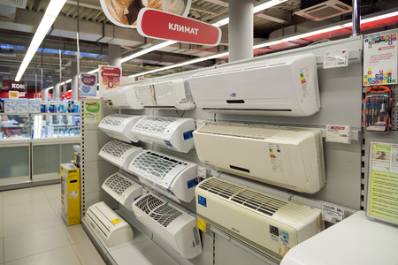eldorado: Moscow, Russia - February 02. 2016. Air conditioning equipment in Eldorado is large chain stores selling electronics and household appliances Editorial