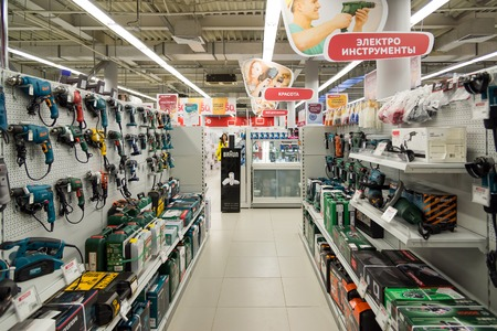 eldorado: Moscow, Russia - February 02. 2016.Interior of  Eldorado is large chain stores selling electronics and household appliances